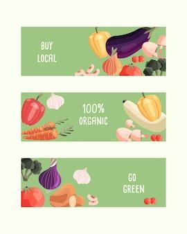 Tres plantillas de banner horizontal con verduras orgánicas frescas y lugar para el texto