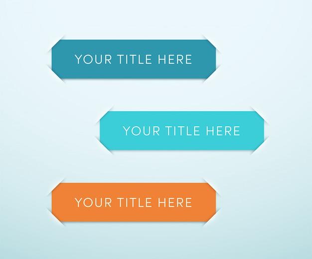 Tres plantillas de cuadro de texto en blanco colorido banner vector