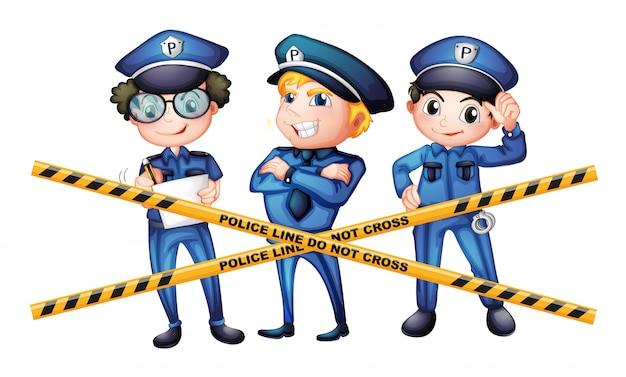 Tres policías en la escena del crimen.