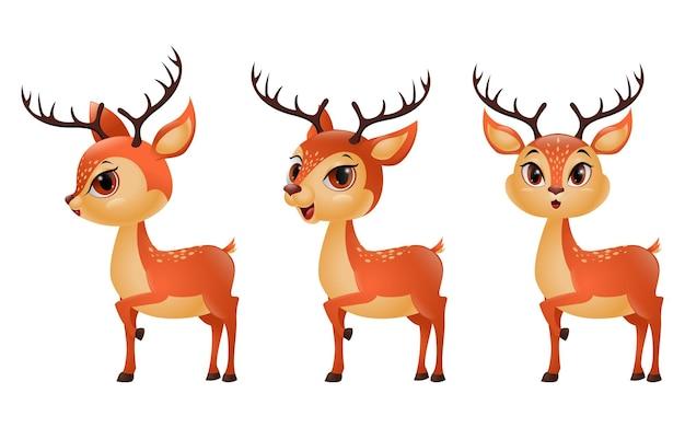 Tres renos de divertidos dibujos animados