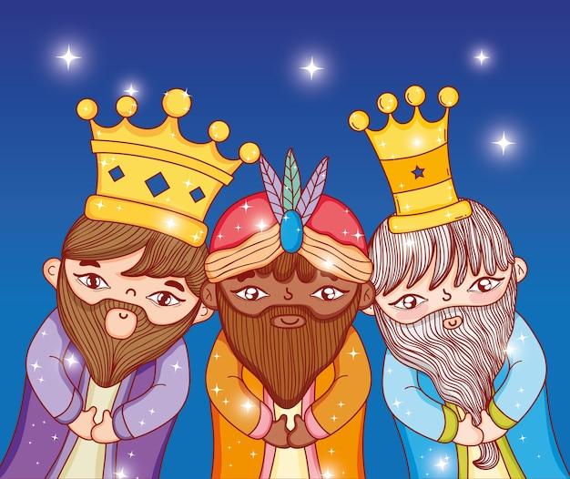 Tres reyes llevando corona con estrellas a la epifanía.
