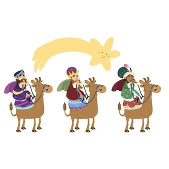 Tres reyes mágicos del este en camellos con la estrella navideña.