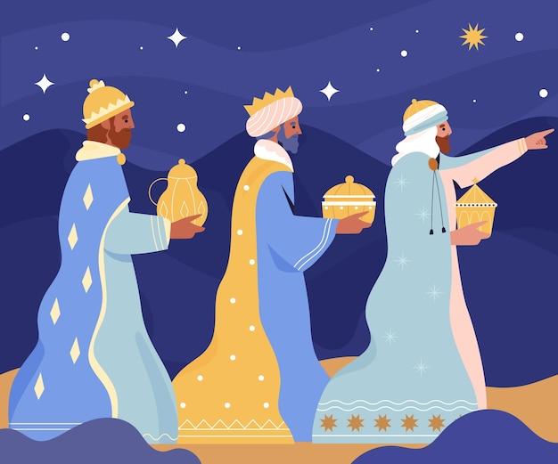 Tres reyes magos dibujados a mano