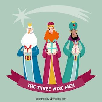 Los tres reyes magos en estilo dibujos