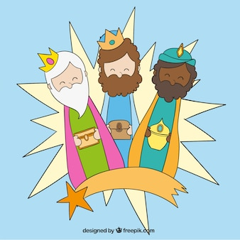 Tres reyes magos con estrella fugaz