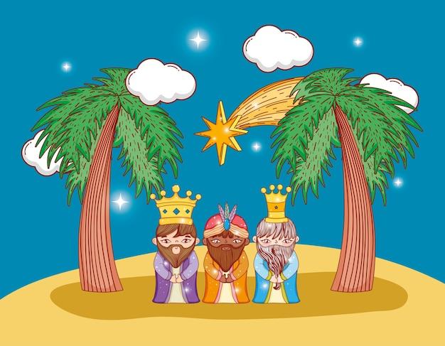 Tres reyes magos con estrella y palmeras.