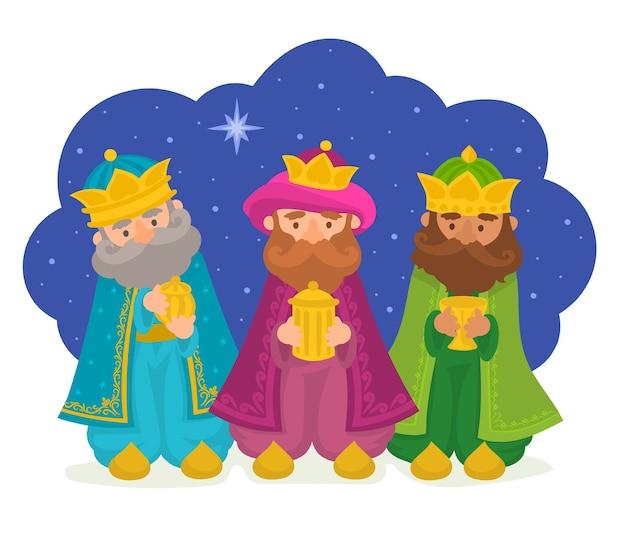 Tres reyes magos traen regalos ilustración