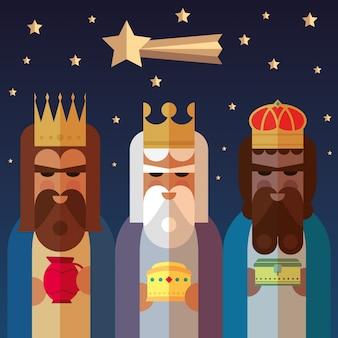Los tres reyes de oriente. ilustración sabia de los hombres