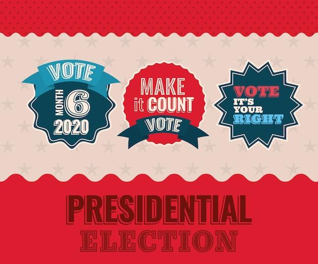 Tres sellos de sello de voto con cintas sobre diseño de fondo estrellado, gobierno electoral de presidente y tema de campaña.