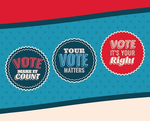 Tres sellos de voto en diseño de fondo azul y estrellado, gobierno electoral de presidente y tema de campaña.