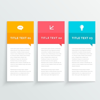 Tres sencillos banners infográficos con diferentes colores
