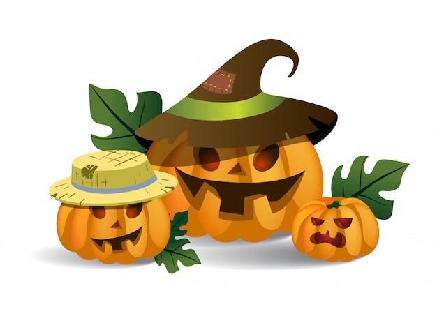 Tres sonrientes espeluznantes calabazas en sombreros. personajes de dibujos animados de halloween
