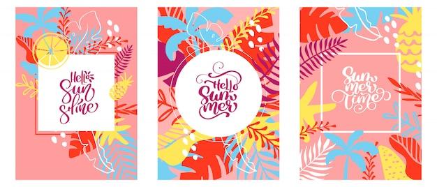 Tres tarjetas de felicitación con texto hola sol