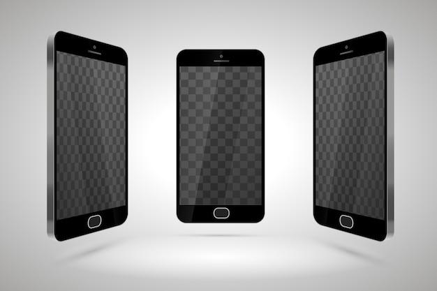 Tres teléfonos inteligentes brillantes realistas, maqueta con lugar transparente para el diseño