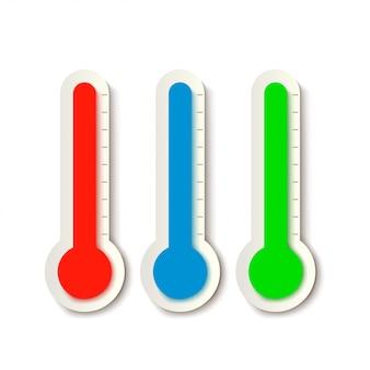 Tres termómetros en blanco