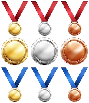 Tres tipos de medallas con cinta roja y azul.