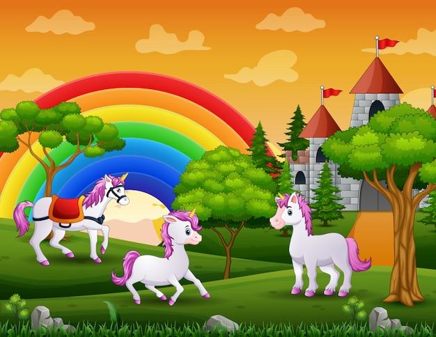 Tres de unicornio fuera de un castillo