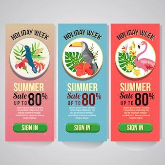 Tres vacaciones de verano banner vertical sitio web tema tropical