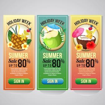 Tres vacaciones de verano plantilla banner vertical sitio web bebida cóctel vector ilustración