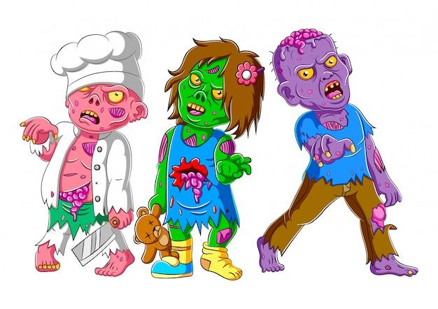 Tres zombies de miedo de pie de ilustración