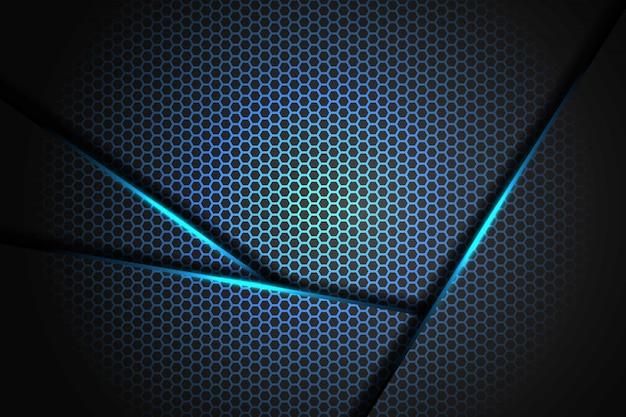 Triangel de luz azul 3d abstracto en negro con diseño de patrón de malla hexagonal fondo de tecnología futurista de lujo moderno
