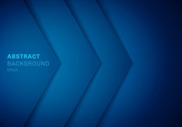 Triángulo azul 3d abstracto con capa de papel superpuesta
