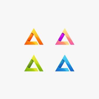 Triángulo de color degradado colorido logotipo.