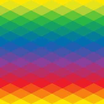 Triángulo de geometría, ilustración de mosaico con colores del arco iris.
