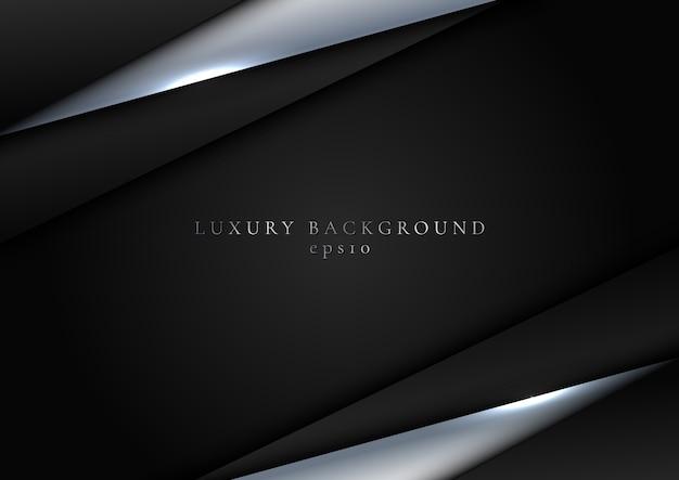 Triángulo metálico abstracto elegante plantilla negro y plata