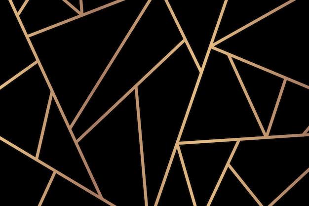 Triángulo patrón geométrico oro fondo negro
