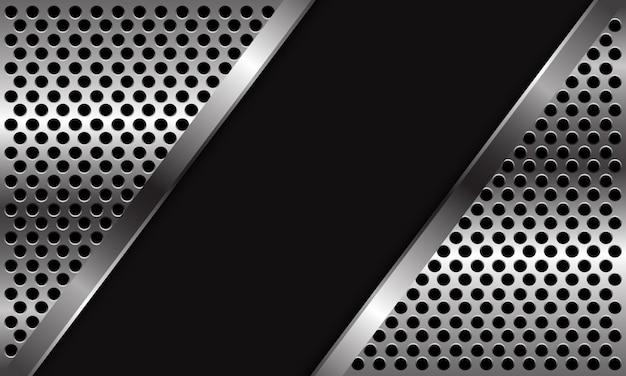 Triángulo de patrón de malla de círculo plateado abstracto sobre fondo futurista de lujo moderno de diseño de espacio en blanco negro.