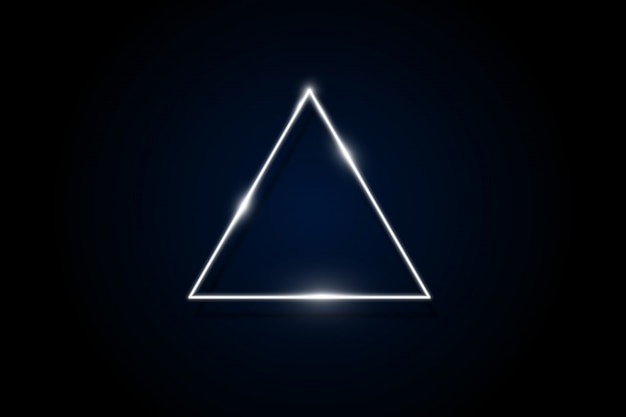 Triángulo redondeado de neón púrpura brillante sobre fondo oscuro marco polígono geométrico iluminado