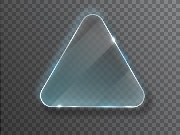 Triángulo de vidrio textura realista con reflejos y brillo en el transparente.