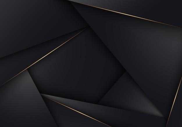 Triángulos de polígono bajo de rayas negras 3d abstractas con líneas doradas superpuestas de fondo. estilo de lujo. ilustración vectorial
