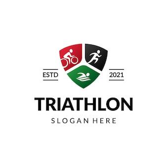 Triatlón correr ciclismo natación deporte diseño de logotipo premium