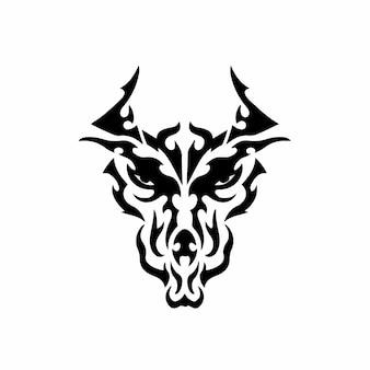 Tribal dragon head logo tattoo design stencil ilustración vector