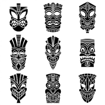Tribal máscara tiki siluetas negras conjunto de vectores.
