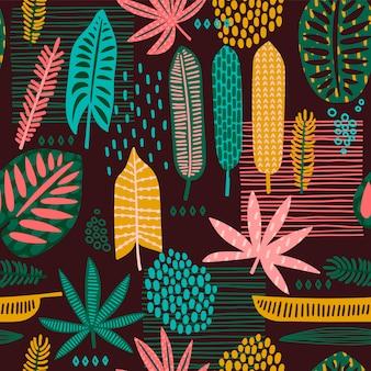 Tribal de patrones sin fisuras con hojas abstractas.