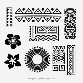 Tribal vector icono conjunto hawaiano
