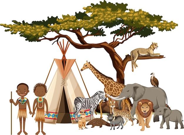 Tribu africana con grupo de animales salvajes africanos sobre fondo blanco.