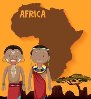 Tribu africana nativa con mapa en el