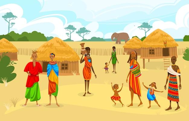 Tribu étnica en áfrica ilustración vectorial plana. mujer africana de dibujos animados con jarra, personaje afro en traje tradicional tribal, de pie cerca de étnicos