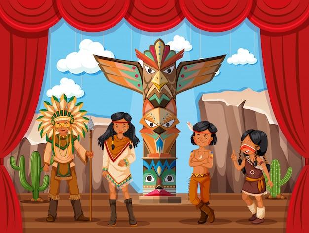 Tribu nativa americana en el escenario