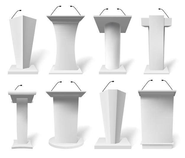 Tribuna de discurso realista. podios de tribuna de debate con micrófono, conjunto de ilustración de tribuna de presentación pública 3d