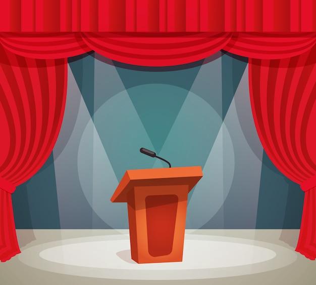 Tribuna en el escenario