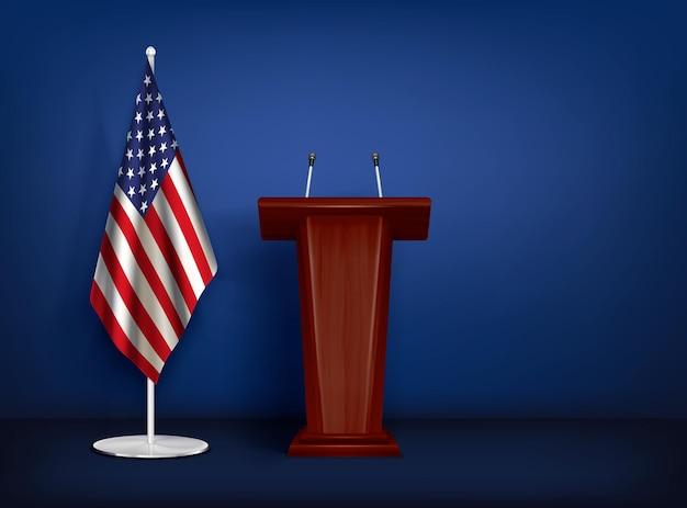 Tribuna de madera con micrófonos y la ilustración de la bandera americana