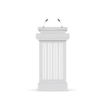 Tribuna de podio blanco de vector con micrófonos