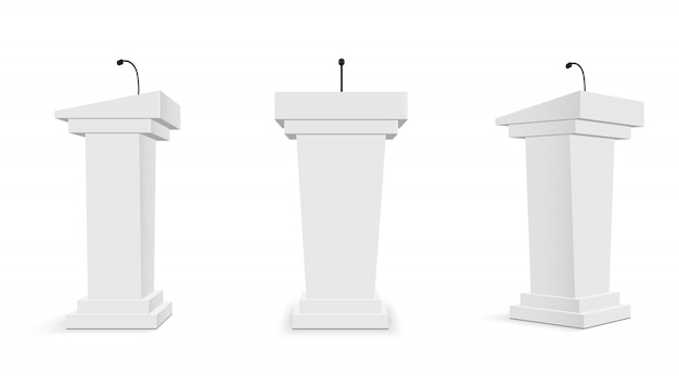 Tribuna del podio con micrófonos, tribuna.