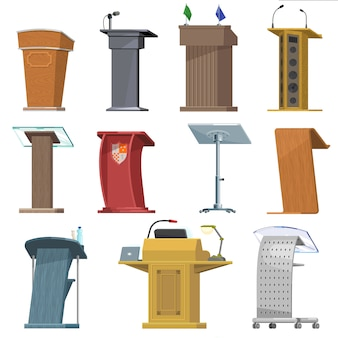 Tribuna podio de vector para presentación de discurso de orador en conferencia de negocios conjunto de comunicación de seminario de tribuna tribuna de debate público en el escenario conjunto de iconos aislados