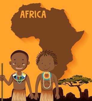 Tribus africanas nativas con mapa de áfrica